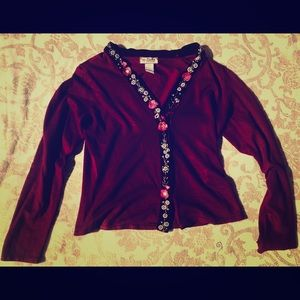 Cranberry Color W/ Flowers Sweater